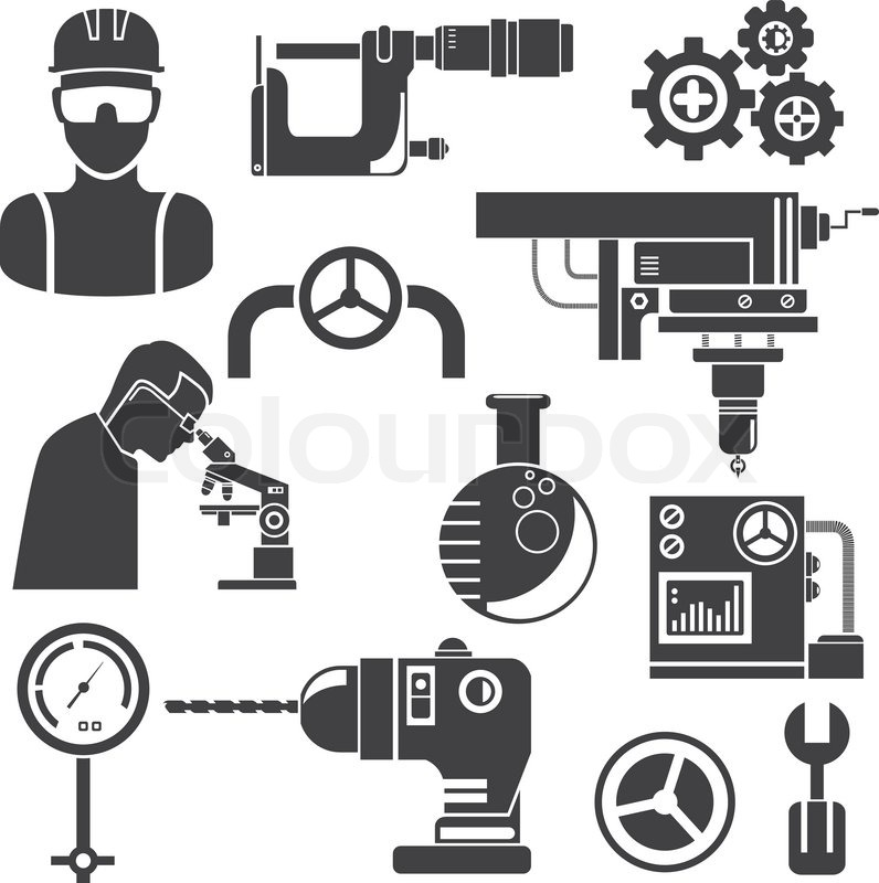 Mechanical Engineering And Tools Set Stock Vector Colourbox