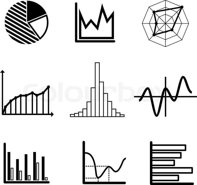 set of black and white graphs and charts including a pie
