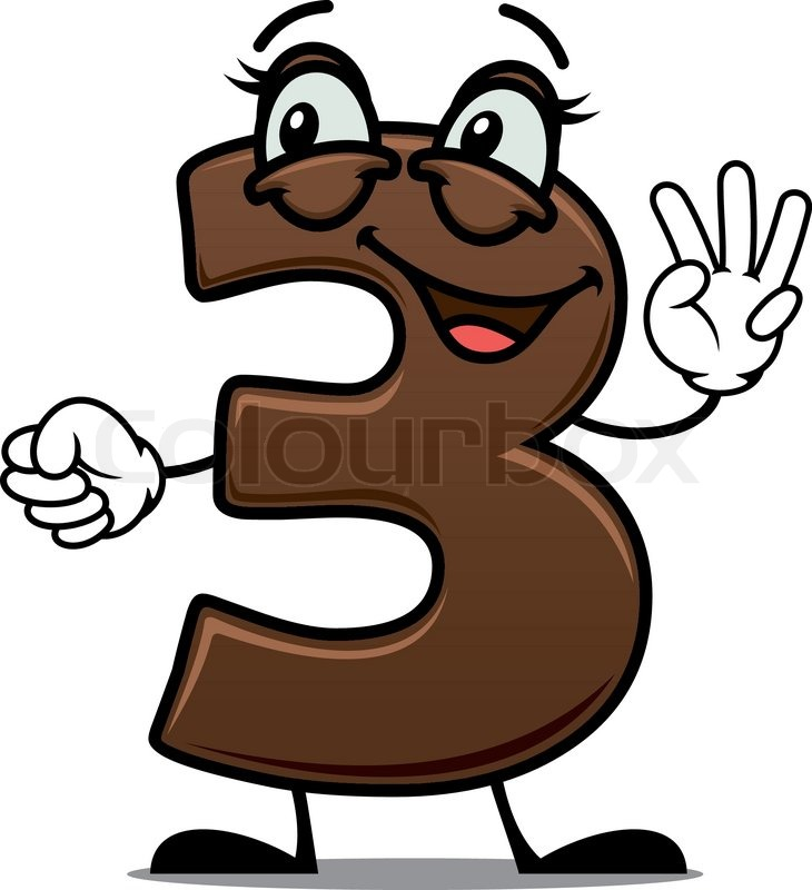 Cartoon Characters 3 Fingers : Cheerful cartoon number waving his hand showing three