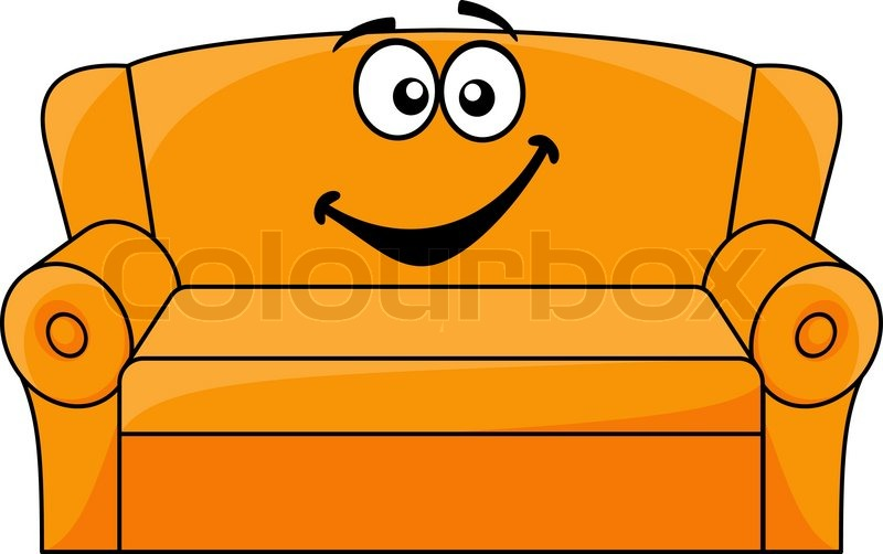 Couch zeichnung  Cartoon upholstered orange couch, sofa or settee with a happy ...