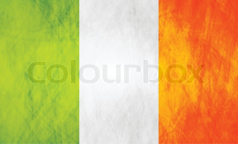 Grunge Illustration Of Irish Flag Vector Background