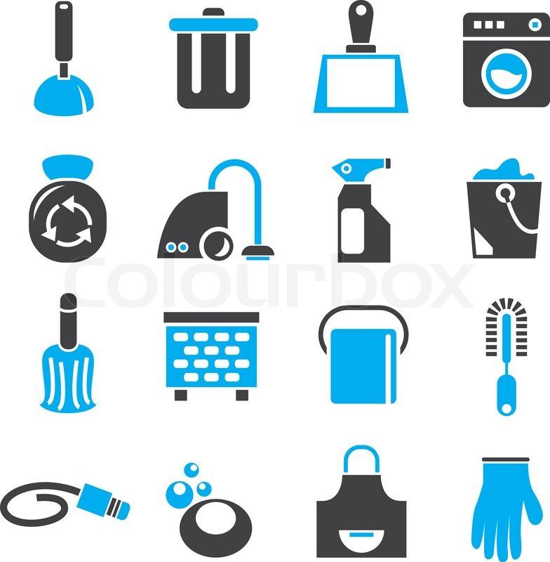 reinigung werkzeuge und haushalt symbole in schwarze und blaue farbdesign vektorgrafik. Black Bedroom Furniture Sets. Home Design Ideas