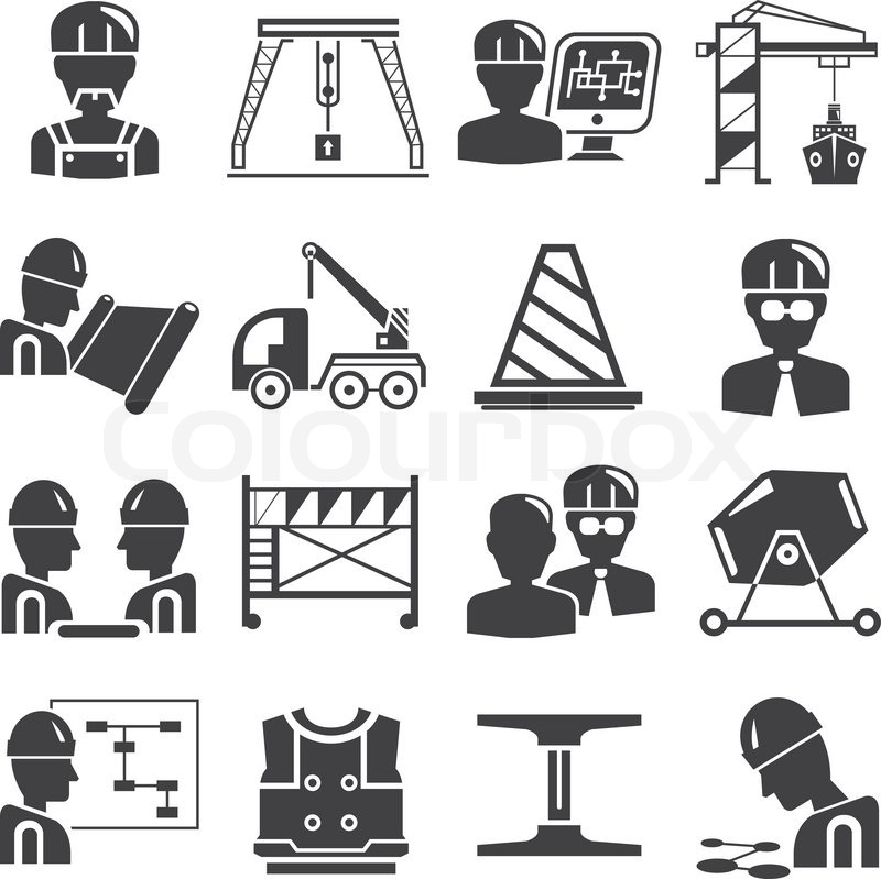 Civil Engineering And Construction Icons Stock Vector Colourbox