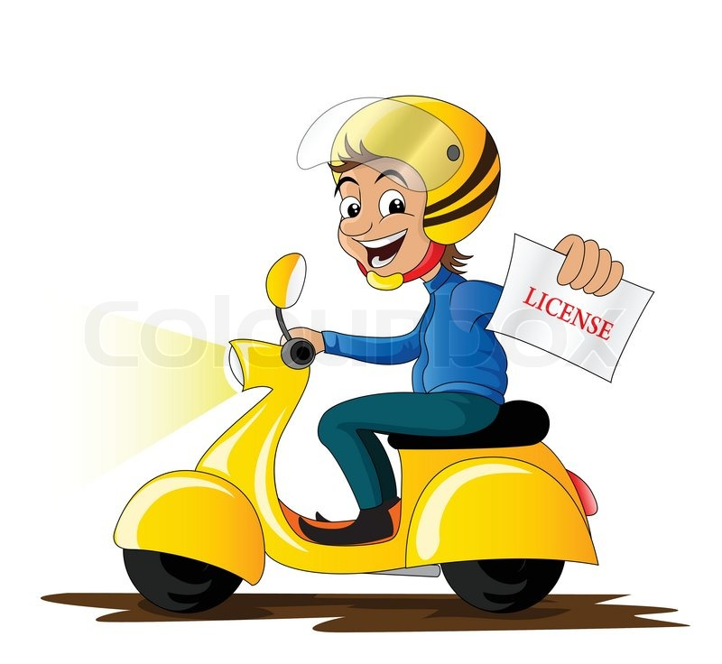 Smile People With Scooter Cartoon
