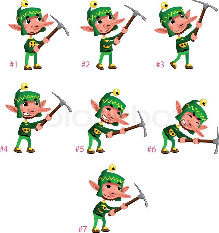 Animation of Dwarf digging. Seven frames, in loop. Vector cartoon ...