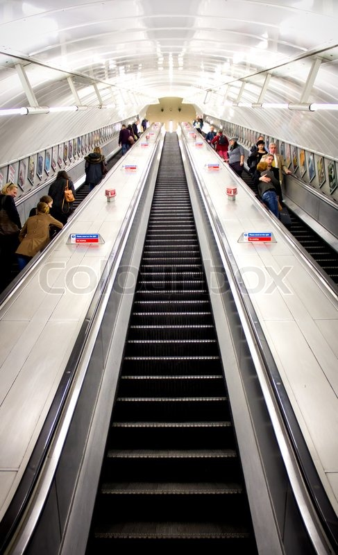 LONDON   OCT 24: People Commuting On A Moving Stairs, Going Up And Down, In  The London Underground.   Stock Photo   Colourbox