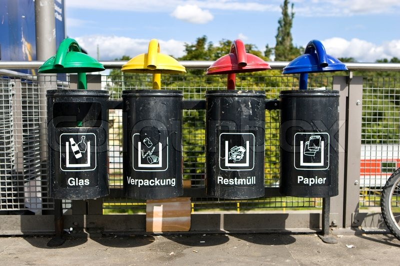 colour coded recycling bins in germany stock photo colourbox. Black Bedroom Furniture Sets. Home Design Ideas