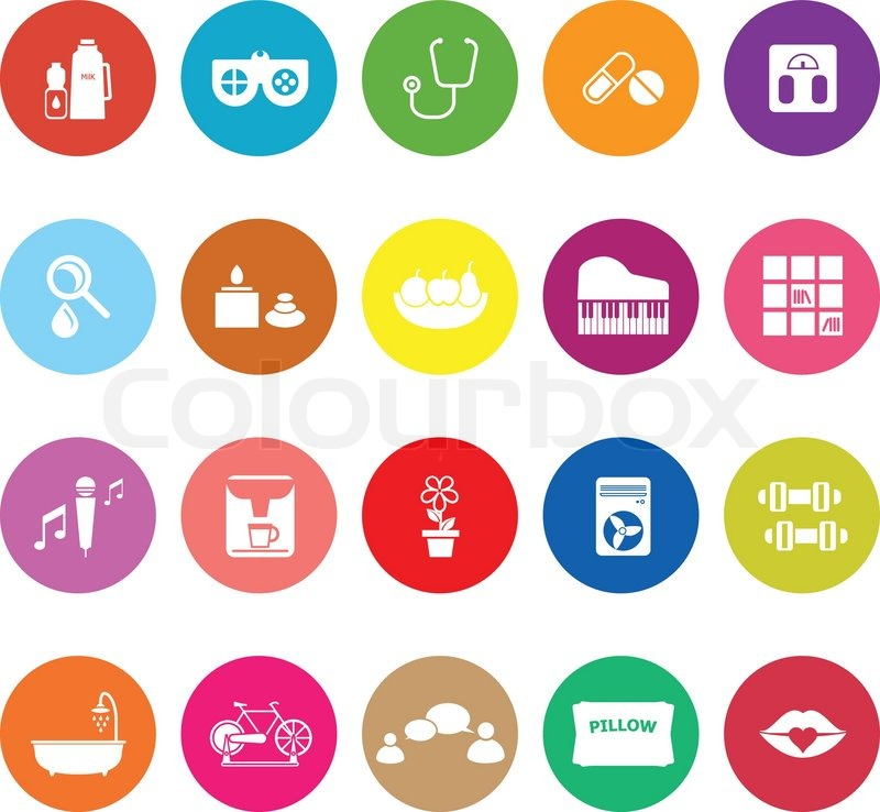 Wellness icon  Wellness flat icons on white background, stock vector | Stock ...