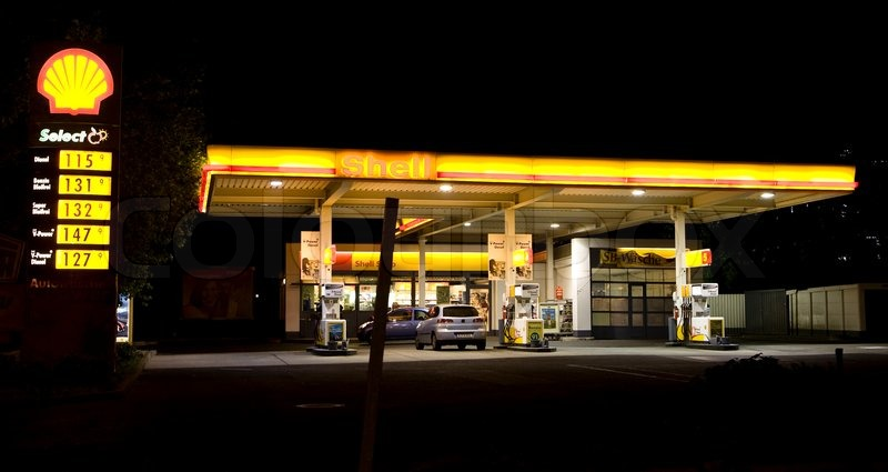 Shell Gas Prices >> Shell petrol station at night | Stock Photo | Colourbox