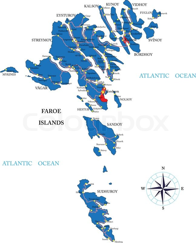 Färöer Inseln Karte.Färöer Inseln Karte Stock Vektor Colourbox