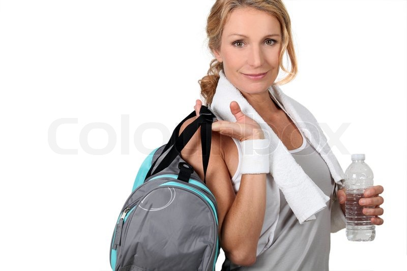 Woman with a sports bag, stock photo