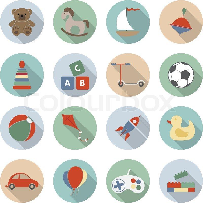 toys vector flat icons stock vector colourbox