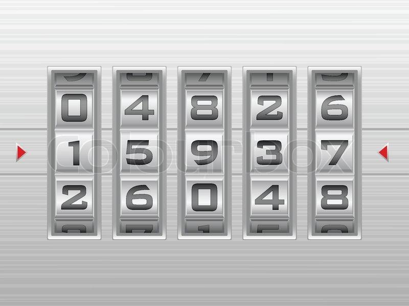 metallic combination lock with five number vector illustration