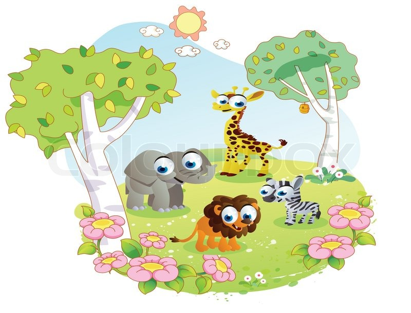 Wild animals cartoon at the flower garden | Stock Vector | Colourbox