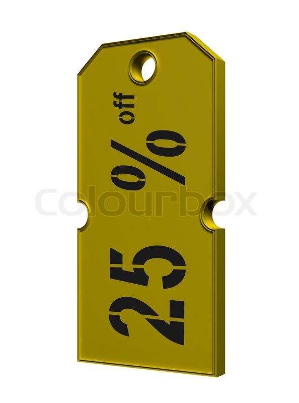Gold Price Tag With Discount On White Background Stock Photo