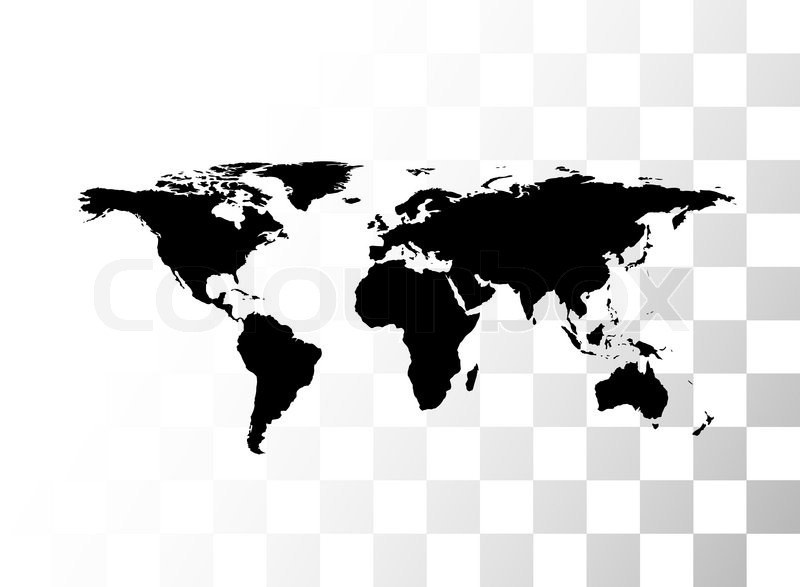Vector Black World Map, With Transparent Background