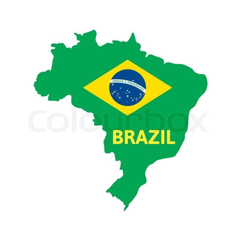 Flat simple Brazil map, vector ... | Stock vector | Colourbox