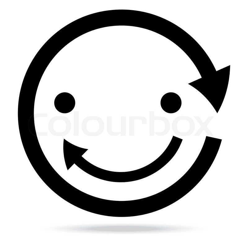 Beautiful Popular Smile Happy Arrow Sign Symbol Icon Set Circle