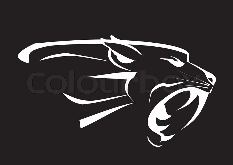 Black Panther Roaring Fang Face In The Dark White Lines Over The