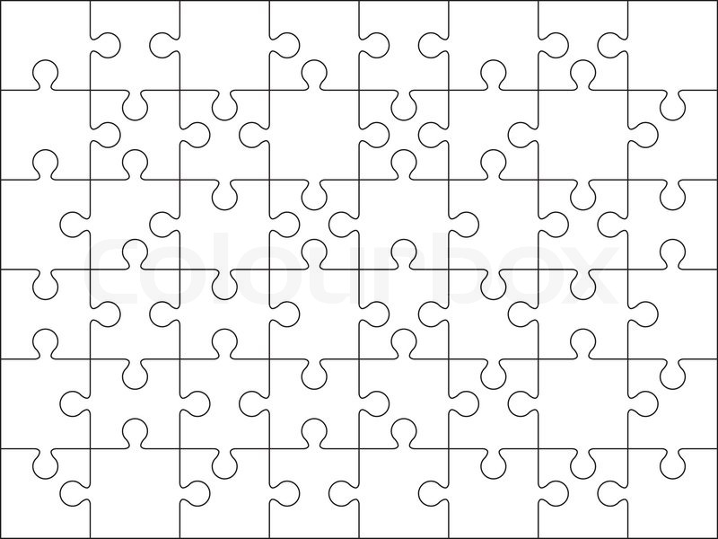 48 Jigsaw Puzzle Blank Template Or Cutting Guidelines On 86 Horizontal Dimension Vector
