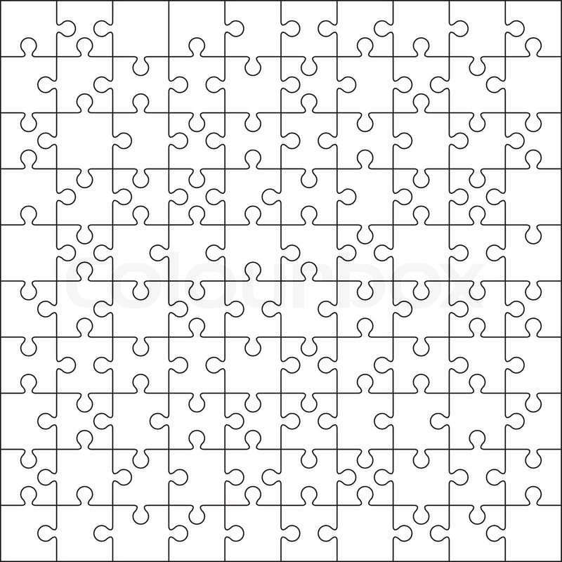 100 Jigsaw puzzle blank template or cutting guidelines | Stock ...