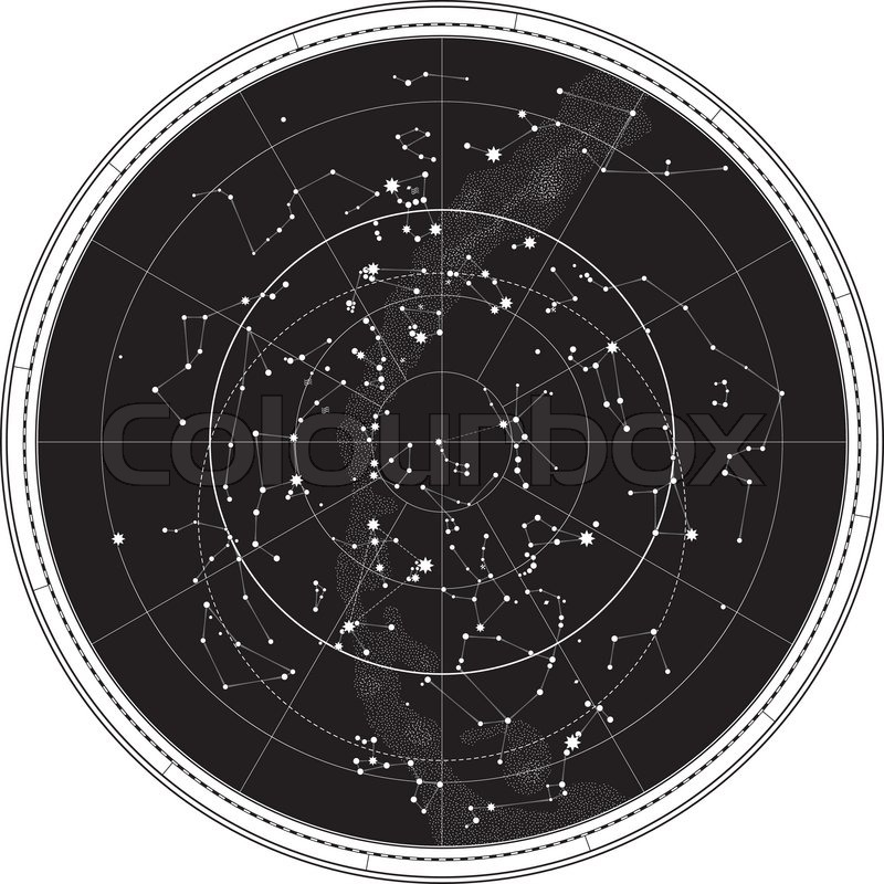 Celestial Map Of The Night Sky Astronomical Chart Of Northern - Night sky map northern hemisphere