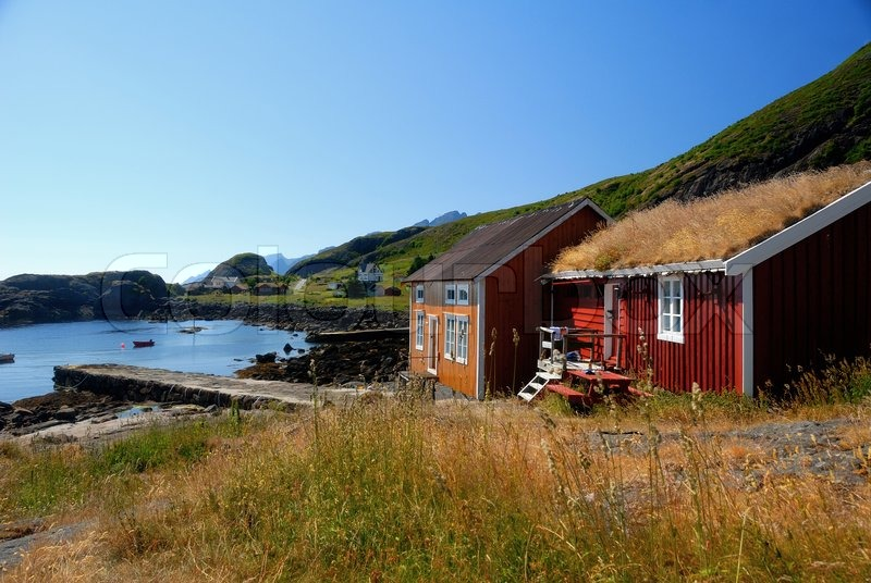 Stock image of 'cottage, norway, lofoten'