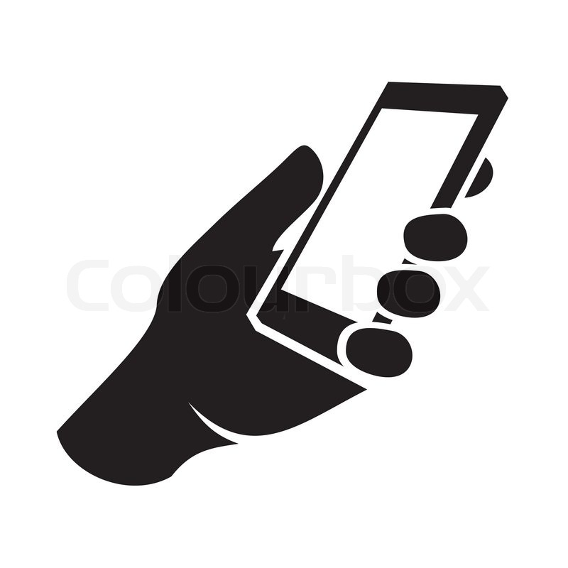Mobile phone in hand icon. Vector illustration | Stock ...