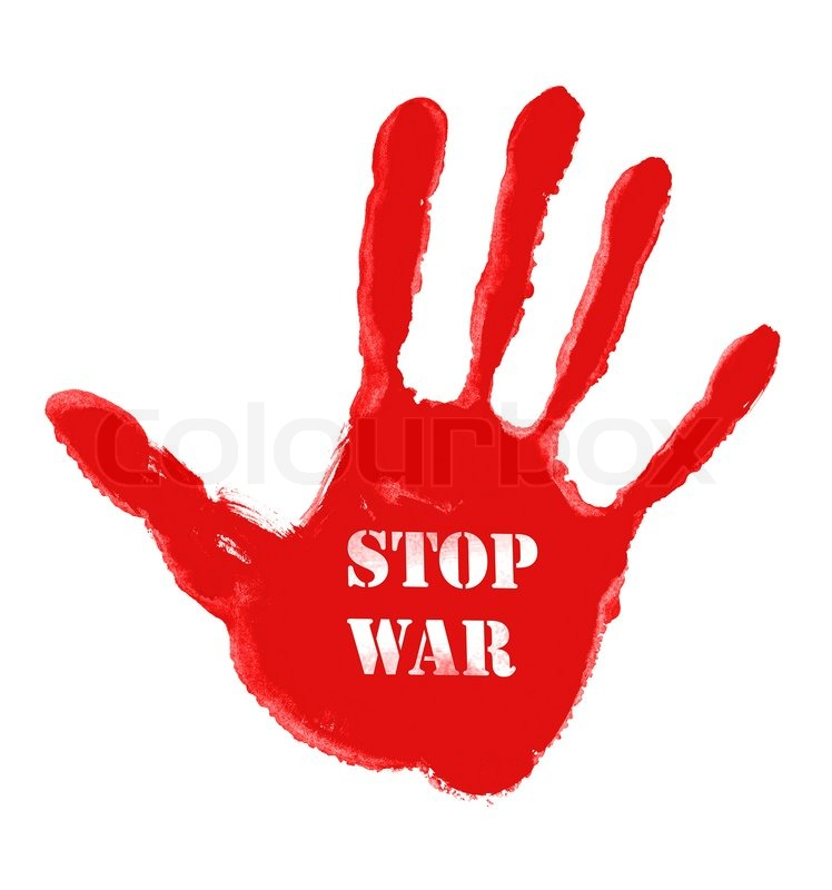 Illustration of red handprint with the word ''Stop war ...
