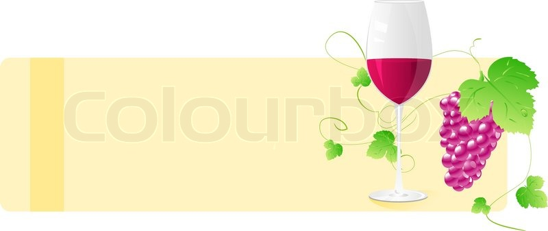 Banner With Wine Glass And Grape With Stock Vector Colourbox