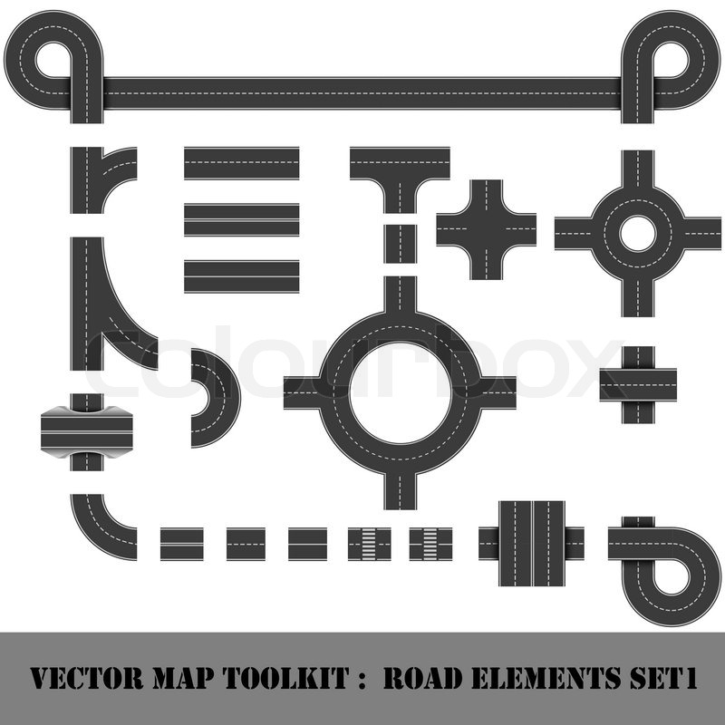 Modern Highway Map Toolkit Top View Position Connectible Road