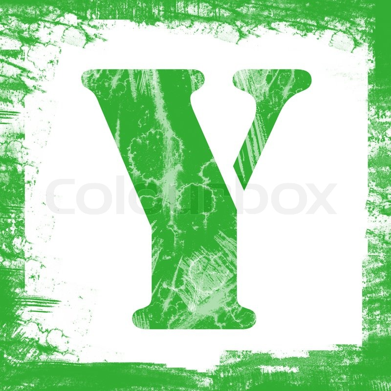 Letter Y In A Series Of Single Square Stamps With Grunge Design