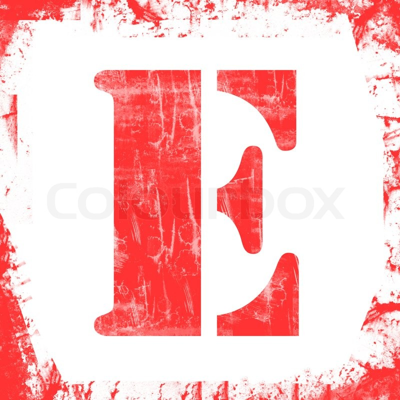 letter e in a series of single square stamps with grunge design