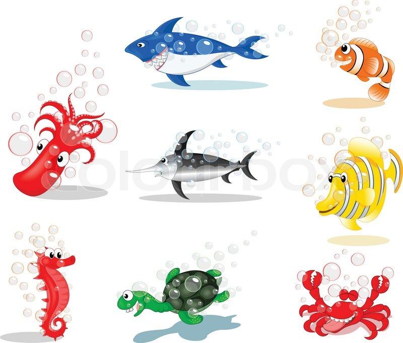 Sea Creatures Cartoon Sea Animals Cartoon Vector