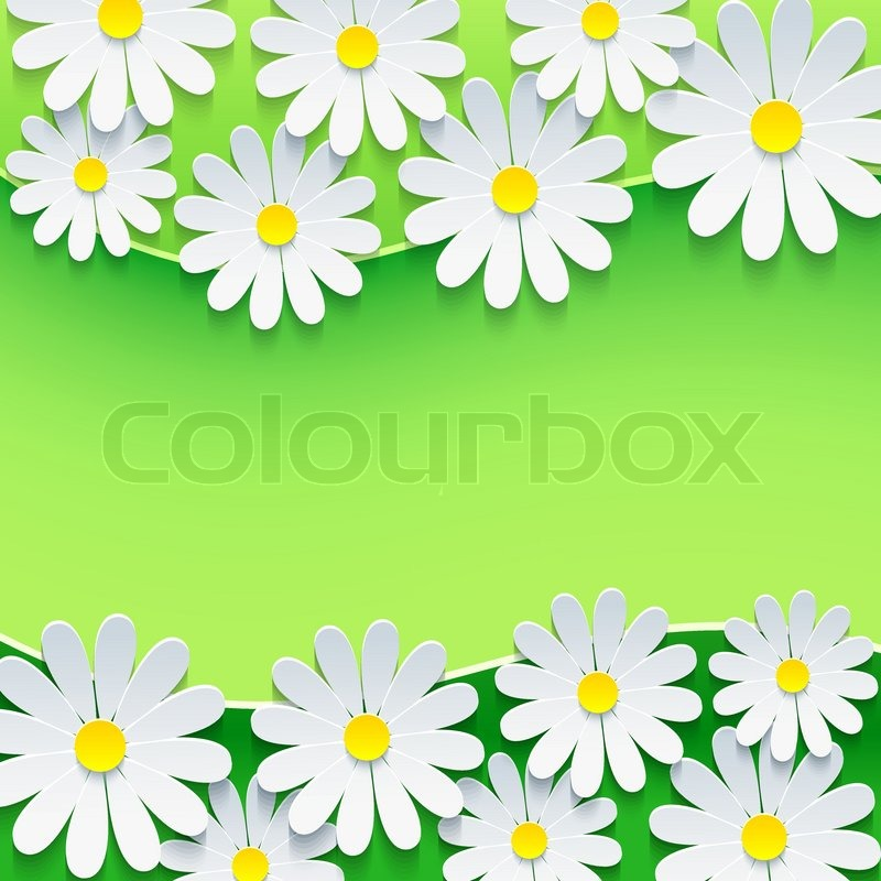 Stylish Floral Green Background. Frame With 3d Flower