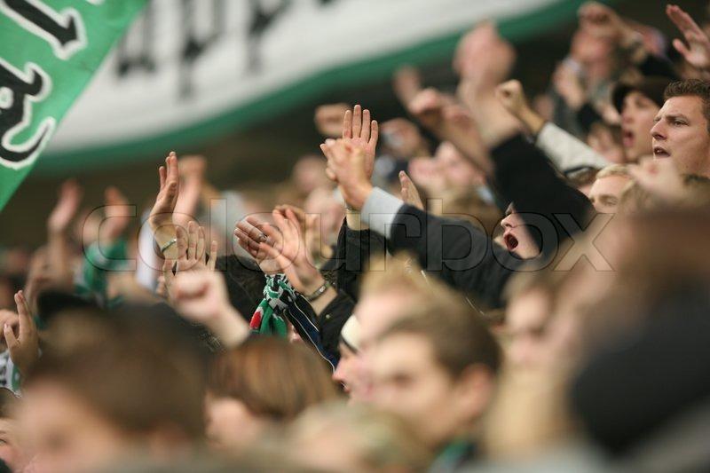 People cheering in Volkswagen Arena, stock photo