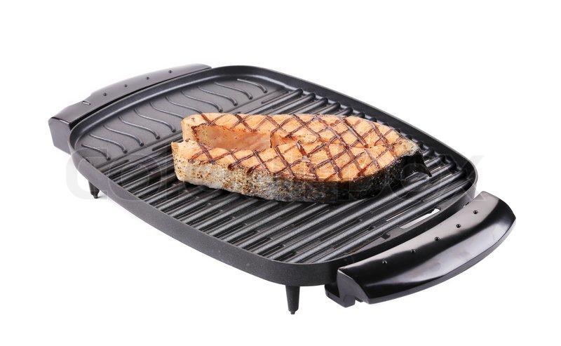 gegrilltes lachssteak auf grill stockfoto colourbox. Black Bedroom Furniture Sets. Home Design Ideas