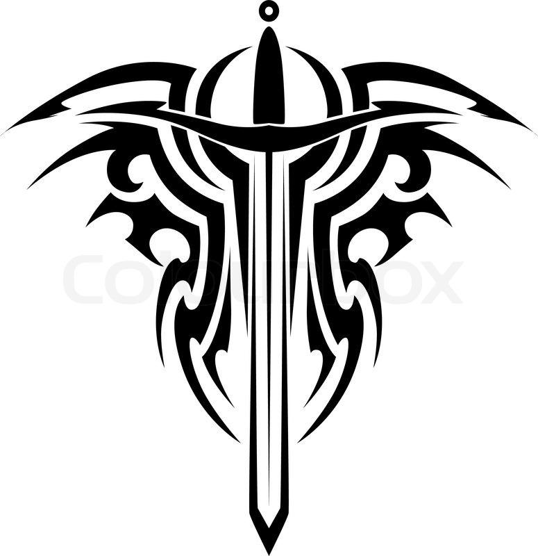 tribal tattoo mit mittelalterlichen schwert stockvektor