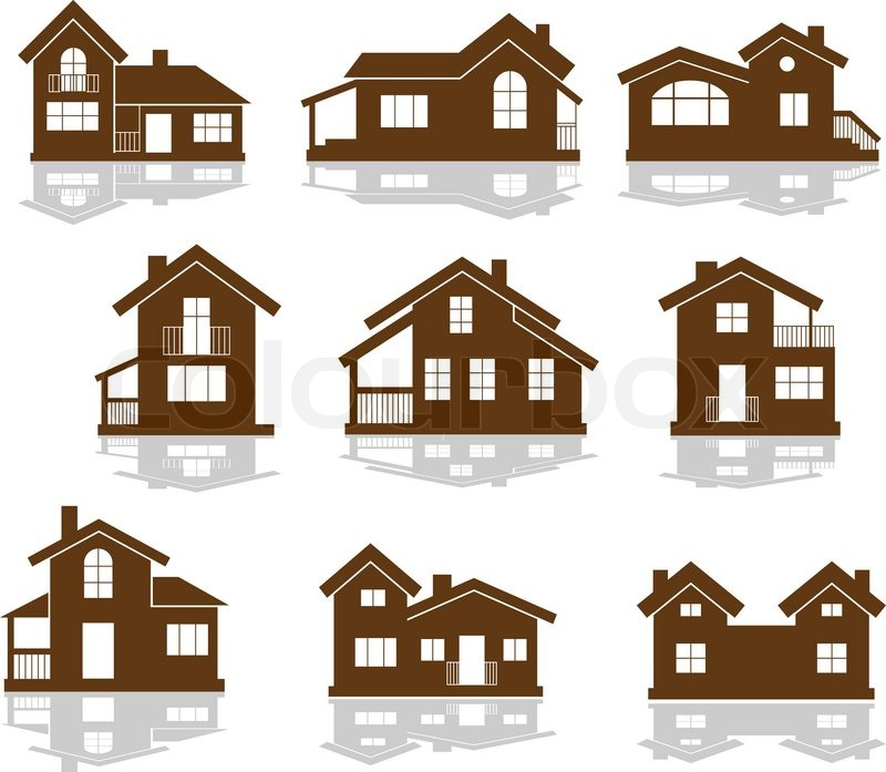Set of apartment house icons in brown and white showing for Different building styles