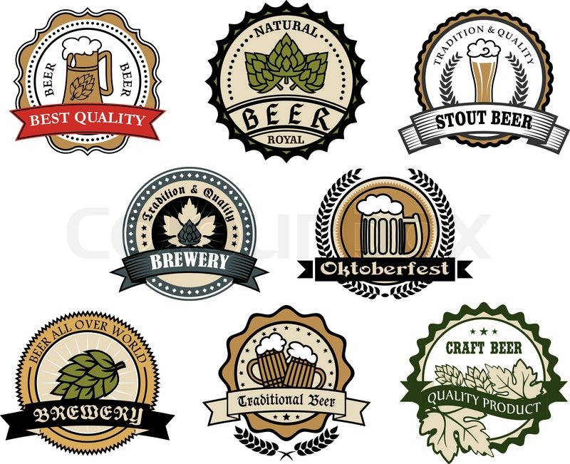 Brewery and beer labels set depicting tankards of beer and hops in ...