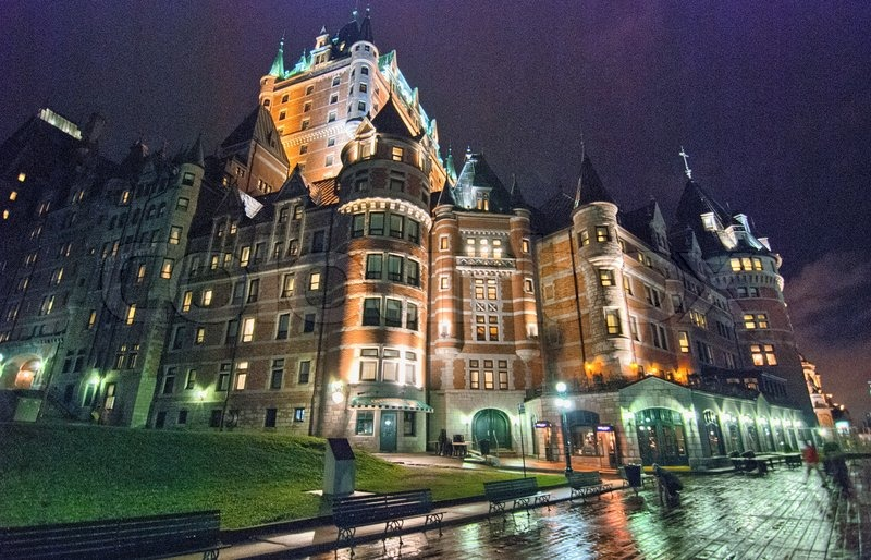 Beautiful Architecture Of Quebec City At Night Canada