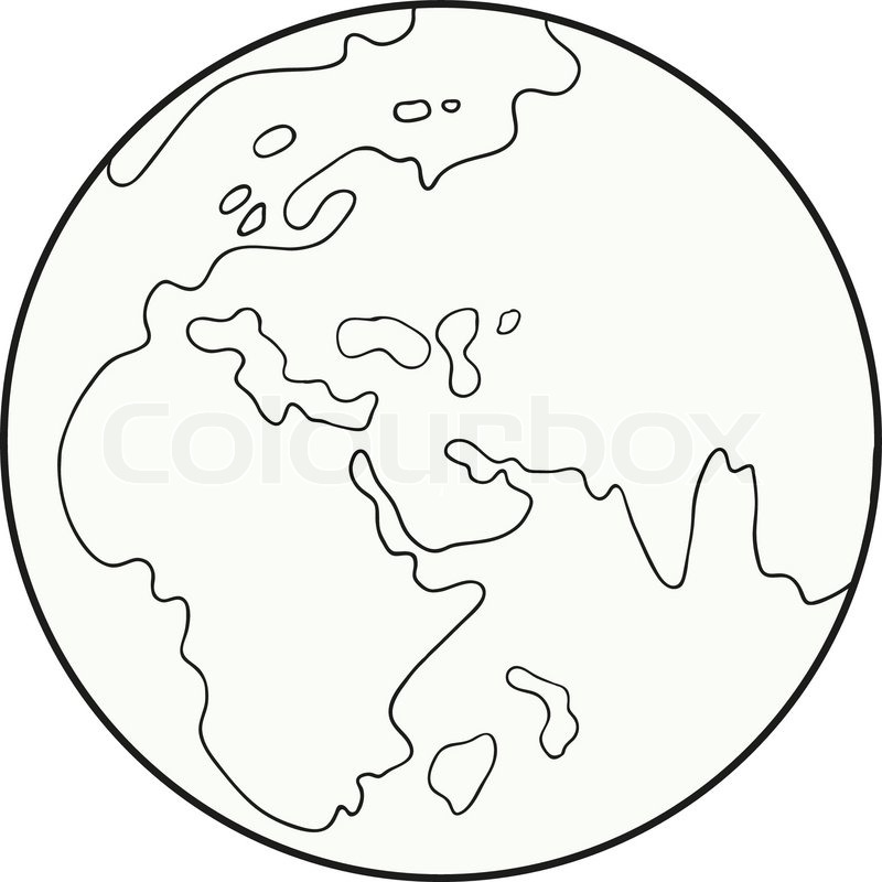 Line Art Earth : Caricature of the globe on a white background stock