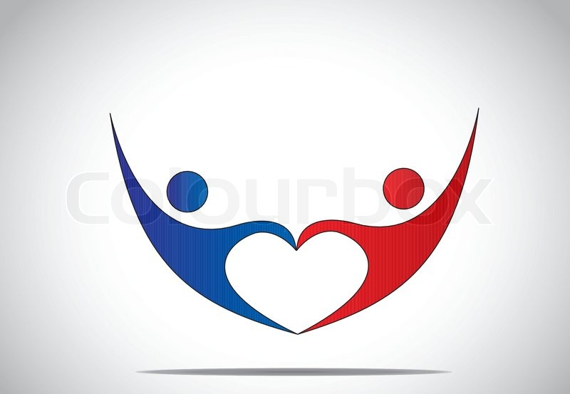 Young Man Woman Couple Dance Hold Hands In Love Heart Shape