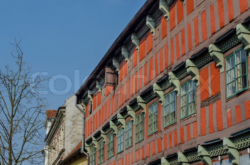 Historic timber frame house in Randers, Denmark. The house was the ...
