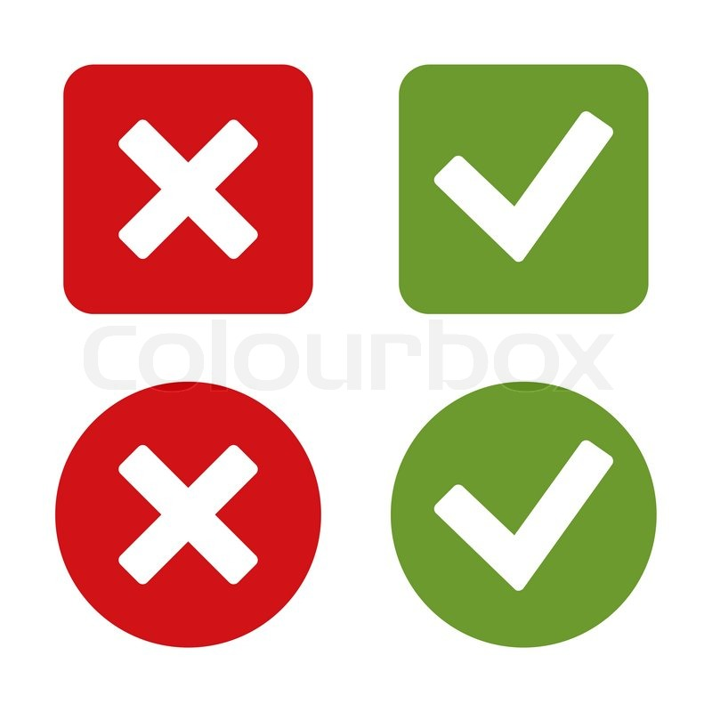 Check Mark Stickers And Buttons Red And Green Vector Illustration