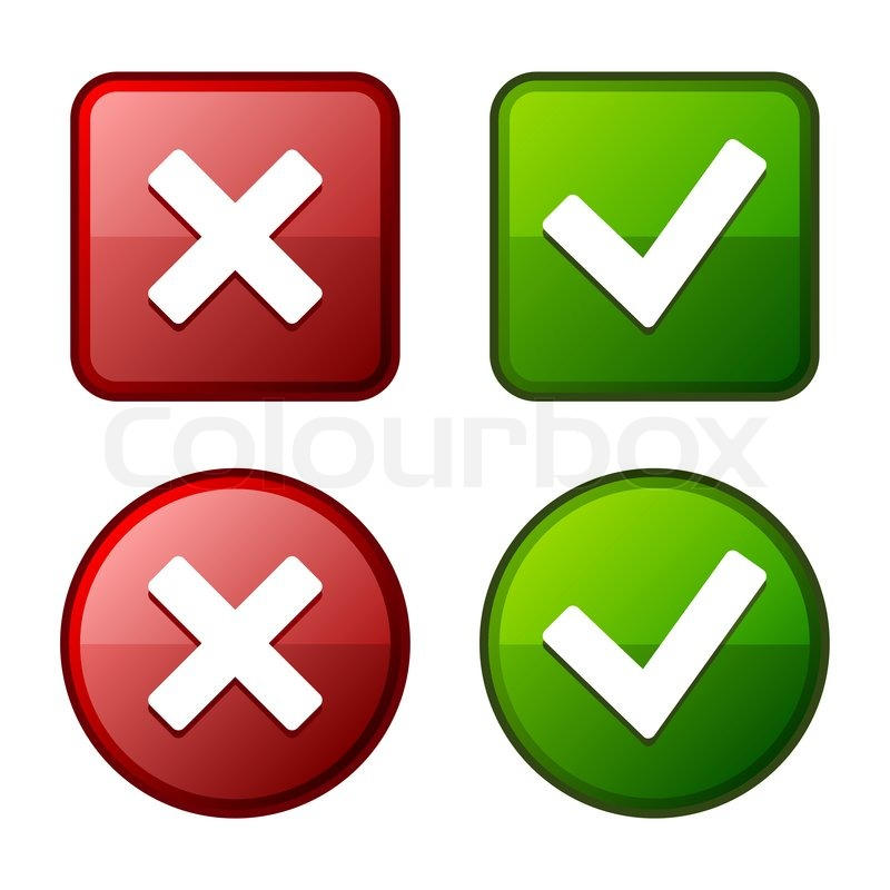 Glossy Check Mark Stickers And Buttons Red And Green Vector