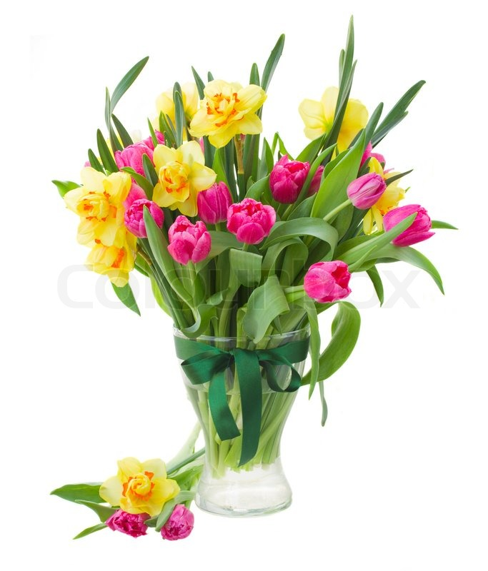Bouquet Of Pink Tulips And Yellow Stock Photo Colourbox