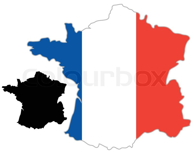 France Map Flag.France Map Flag On A White Background Stock Vector Colourbox