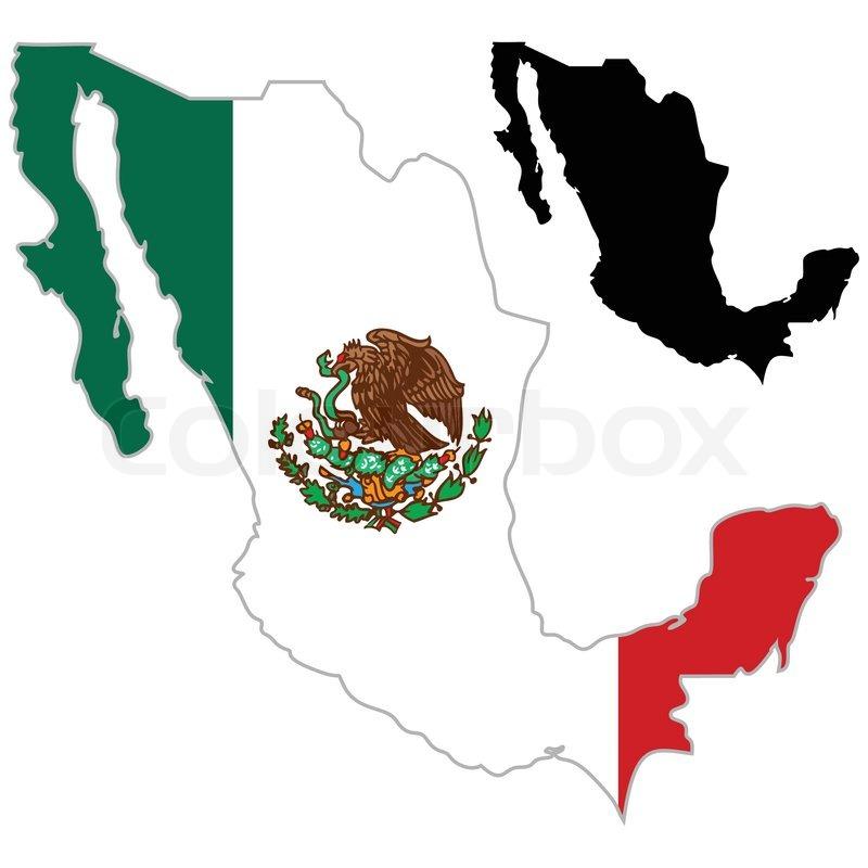 Mexiko Karte Umriss.Mexiko Karte Flagge Stock Vektor Colourbox