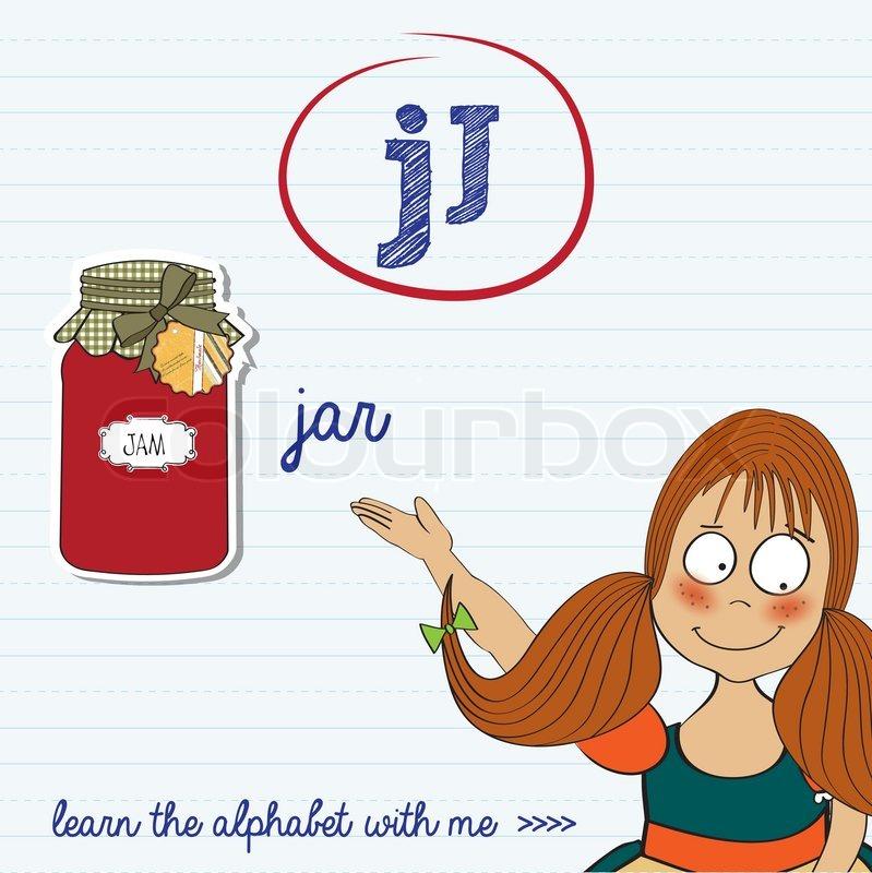 Alphabet Arbeitsblatt der Buchstabe j | Vektorgrafik | Colourbox